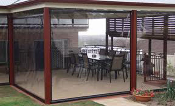 Outdoor blinds, awnings, shade sails, clear & tint PVC Blinds.